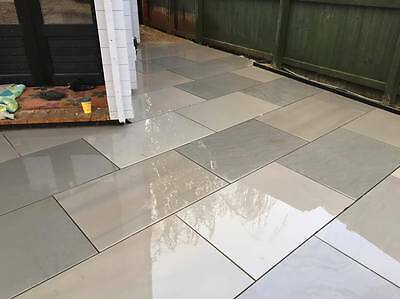 Grey Sawn Smooth Sandstone Patio Paving 900x600 slabs £28m2 with FREE DELIVERY