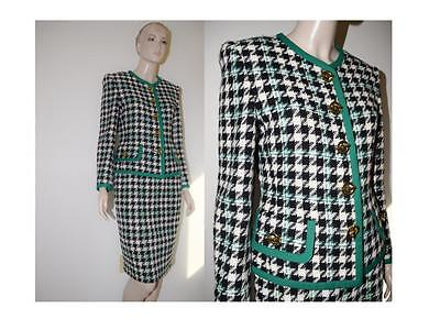 Vintage 90s Houndstooth Suit Blazer Jacket Pencil Skirt by Portara Designer 2 4