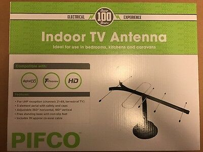 New Passive Digital Tv Indoor Television  Antenna Aerial Channel Black