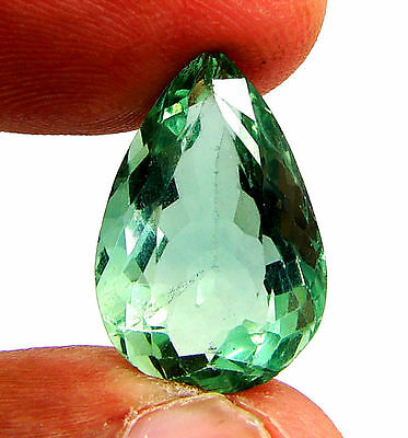 13.35 Ct Natural Green Fluorite Loose Gemstone Pear Cut Stone - 10888