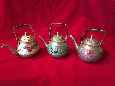 Lot Of 3 Vintage Brass Made In India Miniature Tea Kettles Hand Painted
