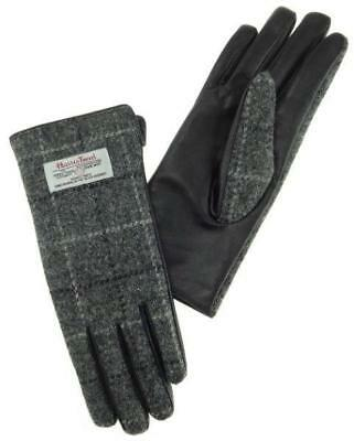 Ladies 100% Harris Tweed and Leather Gloves Classic Grey and White Tartan Check