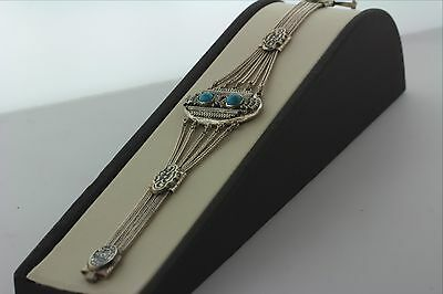 """Antique Handmade Filigree 800 Silver Niello Bracelet with Turquoise- 7.5""""- 22.4g"""