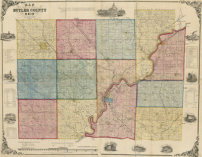 1855 Farm Line Map of Butler County Ohio Oxford Rossville LARGE 35 x 45