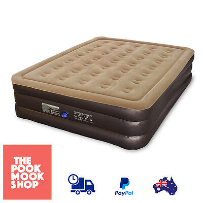 Double Height Brown Queen Air Bed w/ Pump Mattress Camping, Electric, Inflatable