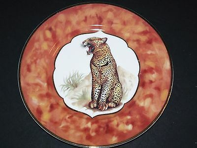 "Email Delimoges Cheetah Plate 10""  A J. Godiner # 1855"