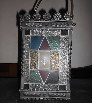 Antique stained glass lantern type lamp shade