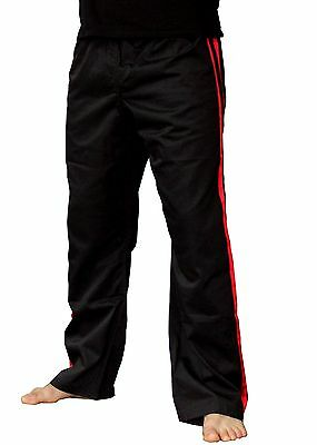 Polycotton Full Contact Trousers with Red Strips for Kickboxing and Martial arts