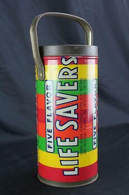 "Large 10"" Vintage Five Flavor Lifesavers Tin with Handle Beech Nut, Inc."