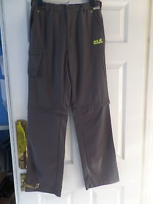Kids Jack Wolfskin Dark Steel Zip Off Trousers Height 42 Inches New With Labels