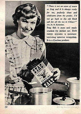Original 1951 STAG COOKING SALT Quarter Page Vintage / Retro Magazine Ad