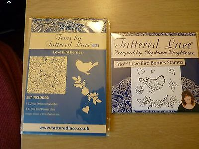 Tattered Lace Trio Love Bird Berries. New. Emboss folder, die and stamp set.