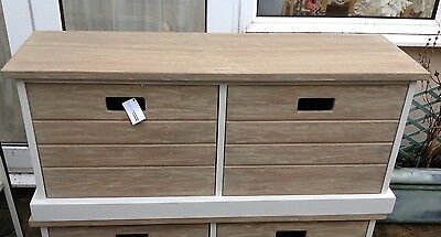 Bench Seat White Wood Cedar Wood Top 2 Drawers New By TOBs