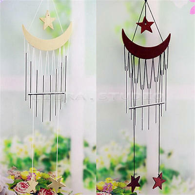 Wood Star Wind Chimes Metal Home Yard Garden Decor Outdoor Living Gift 8 Tubes