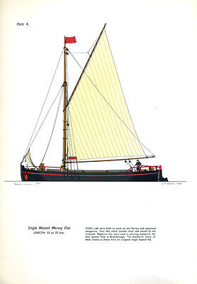 A Charming print of a canal boat - SINGLE MASTED MERSEY FLAT