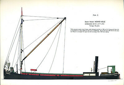 A Charming print of a canal boat - STEAM PACKET 'WEAVER BELLE'