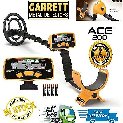 Garrett Ace 200 Metal Detector with Submersible Coil & Batteries - Free Ship USA