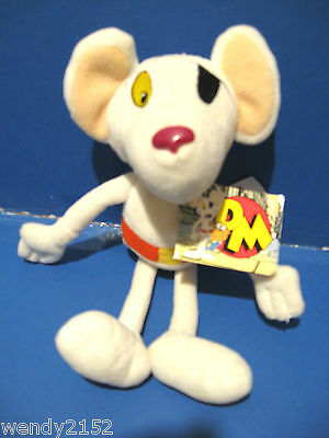 """New + Tags - Dangermouse 10"""" Soft Toy / White Mouse / Original Golden Bear 2001"""