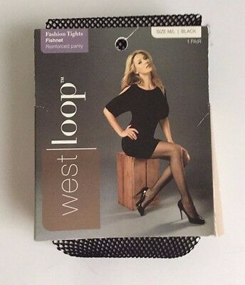 New Women's Fashion Fishnet Tights Size M/L Black by West Loop