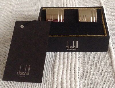 DUNHILL mens silver cufflinks genuine, new and boxed