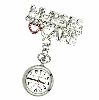 New First Hand Healthcare Watch Therapist Nurse's Care Red Heart Silver Plated