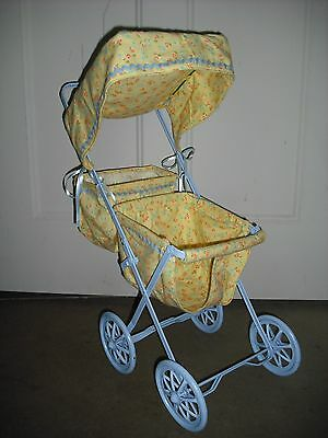 VINTAGE Fully Restored Collapsible Metal & Fabric Doll Stroller