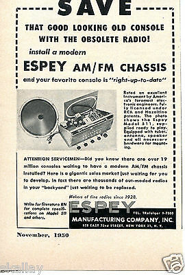 1950 small Print Ad of Espey Manufacturing Co Model 511 AM/FM Chassis