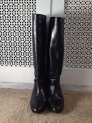 black leather knee boots Bally
