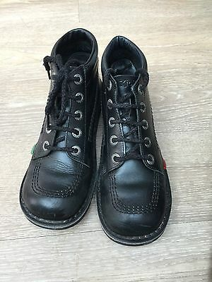 Ladies Black Leather Kickers Boots, Size 5/38