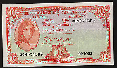 Ireland Lavery 10 Shillings 1952. About Good Very Fine