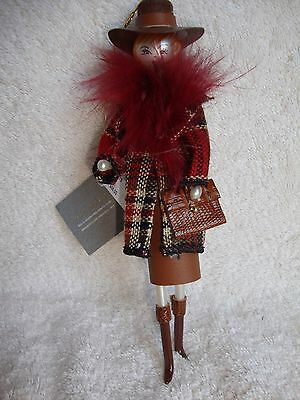 New De Carlini Neiman Marcus Shopper Cowbay Hat Plaid Coat Blown Glass Ornament