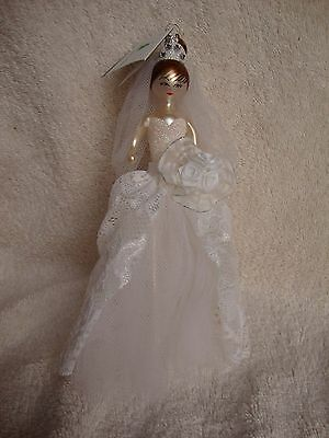 Brand New De Carlini Lord and Taylor Bride Blown Glass Ornament