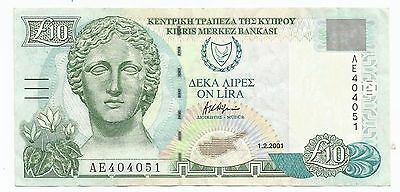 Cyprus 10 Pounds £10 banknote 1-2-2001 lightly circulated