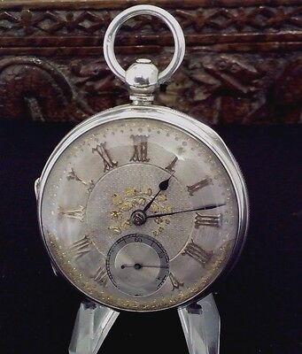 ANTIQUE SOLID SILVER JEWELLED FUSEE POCKET WATCH  BY  ADAM Burdess 1880 COVENTRY