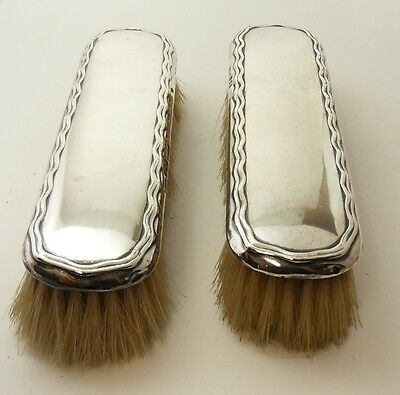 Pair Of Antique Solid Silver Grooming Brushes Hallmarked Birmingham 1912