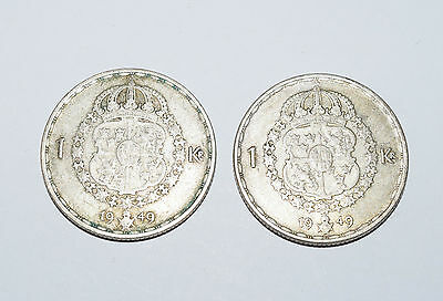 SWEDEN 2 x 1 Krona silver coins since 1949 in VG Condition. King GUSTAF V