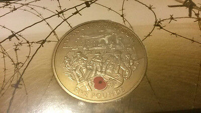 Guernsey 5 Pounds coin in representative pack. 60th anniversary of  D-Day. 2004.