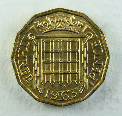 1963 Elizabeth II Threepence 3d, brass; Old album collection!