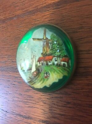 Vintage Heavy GLASS DOME Horse Bridle PIN Brooch Holland Boats Windmill GREEN