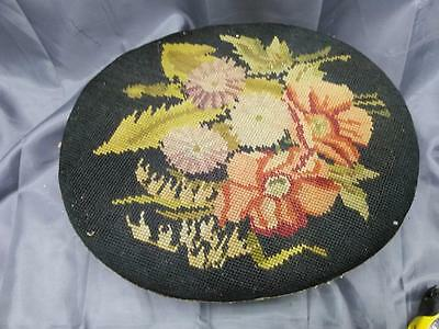 Antique Needlepoint Floral Tapestry Top Wood Footstool Foot Stool Bench Vintage