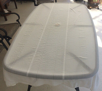"Vintage Off White 82"" X 58"" handkerchief linen table cloth"