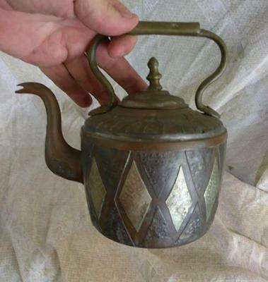 Antique Old Vintage Brass Mixed Metal Persian Arab Middle Eastern Teapot Tea Pot