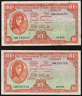 Ireland Lavery 10 Shillings 1951. 2 notes. Very Fine