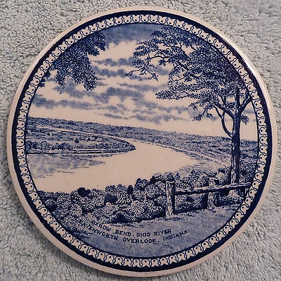 Jon Roth Staffordshire blue & white tile trivet, Ohio River Ox Bow Bend Overlook