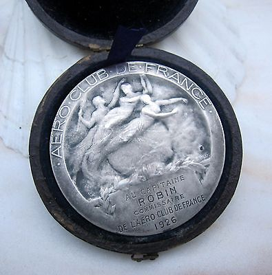 Antique French Art Nouveau Deco Aviation  Sterling Silver medal by E. Blin