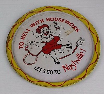 Vintage To Hell With Housework Let's Go To Nashville Tennessee Tn Serving Plate