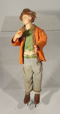 Antique Neapolitan Creche Figure 19th 18th Century Carved Wooden Doll Glass Eyes