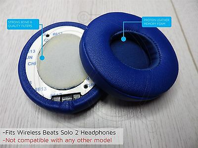 Blue Leather Ear Cushion Kit Beats Solo 2 Wireless- Replacement Ear Pads Memory