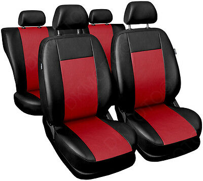 Universal CAR SEAT COVERS full set fits Ford Fiesta leatherette Red/Black