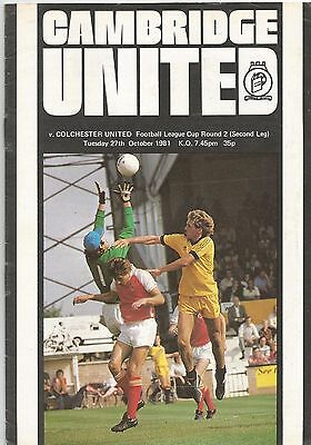 Cambridge United v Colchester United, 27 October 1981, League Cup